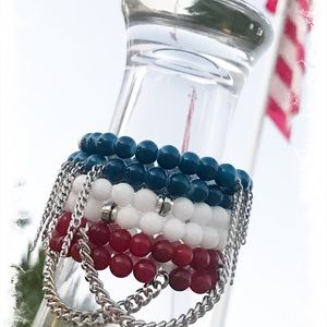 🇺🇸Fourth Of July Beaded Bracelet Set🇺🇸